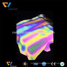 tissu arc-en-ciel d'impression réfléchissant étiré durable de lumière élevée, tissu imprimé réfléchissant