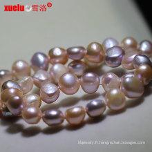 Collier de perles d'eau douce baroque irrégulière multicolore 8-9mm (E130137)