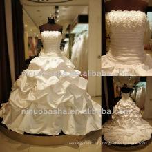 Вопрос-6254 Цветы Лиф Бальное Платье Свадебное Платье Длинный Хвост Свадебное Платье Атласное