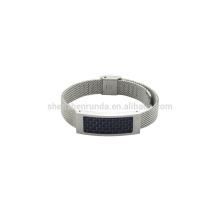 Montre en acier inoxydable en acier inoxydable de 10 mm en acier inoxydable avec fibre de carbone bleu sur le nouveau bracelet de mode