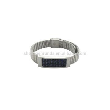 Aço inoxidável 10mm aço mush banda relógio unisex com fibra de carbono azul on sales nova moda pulseira
