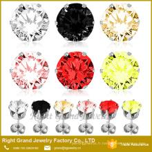 Boucles d'oreilles en zircone cubique rondes griffes réglables en acier inoxydable 316L