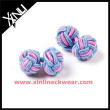 Boutons de manchette de combinaison de couleur rose bleue de noeud de soie