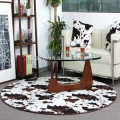 tapis de fausse fourrure imprimé rond en peau de vache