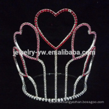 New designs heart rhinestone jewelry tall pageant crown tiara