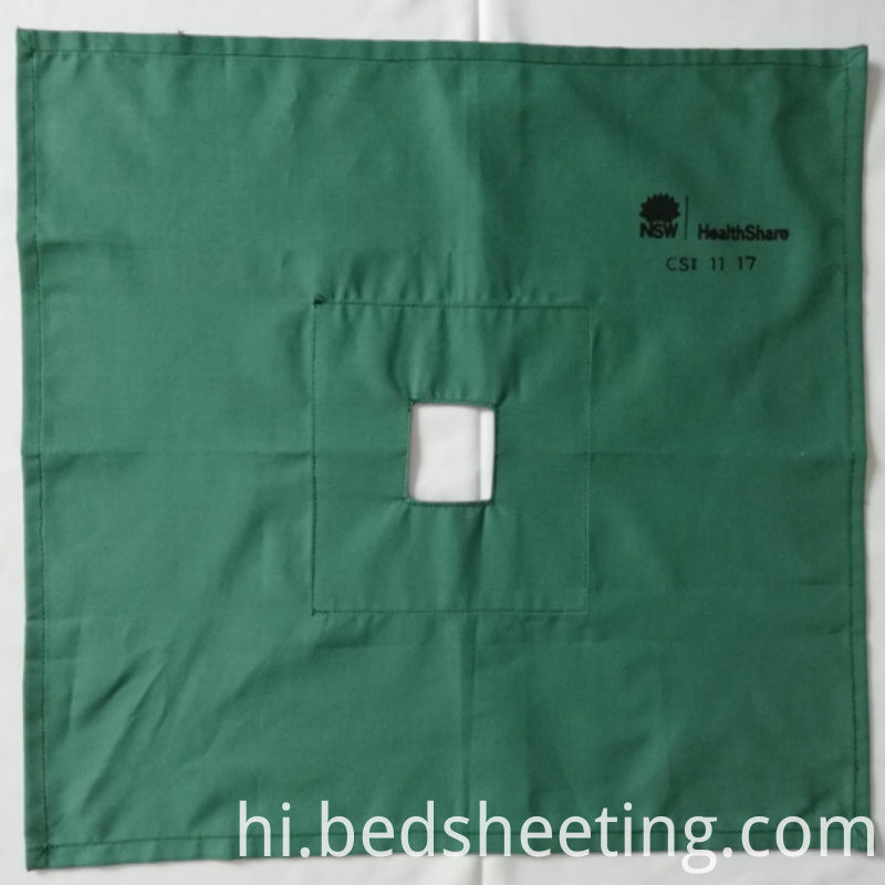 Dark Green Hospital Fenestrated Drapes