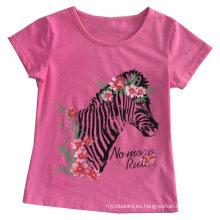 Camiseta de niña de moda en ropa de niños Ropa con Printingsgt-078
