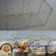 Wholesale field saves steel cages 2x1x0.5m hexagonal hot dip galvanized gabion stone baskets 60x80mm hole gabion wire mesh boxes