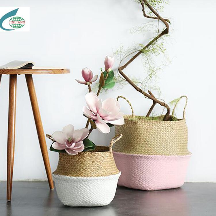 Round Two-tone Mat Grass Flower Basket