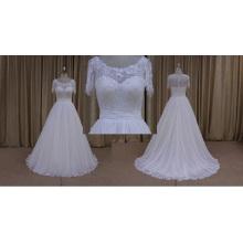 Robe de mariée en mousseline de soie à manches courtes en gros