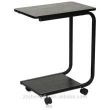 Боковой стол с металлическими ногами и роликами
