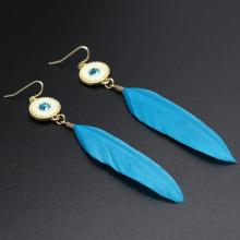 Handmade Bridal Feather Earrings With Alloy Charm Earrings