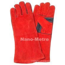 Luva longa de solda de couro vermelho bombeiro NMSAFETY