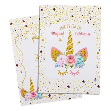 Magical Glitter Unicorn Card Kit de 24 piezas con sobres, Rainbow Unicorn Happy Birthday Party Tarjeta de invitación