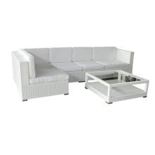 Mobiliário de jardim branco PE sofá do rattan