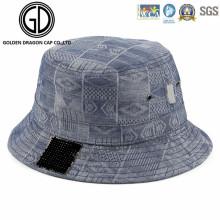 De alta calidad de lavado azul Denim Heat Pressed Bucket Hat