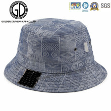 Top Quality Wash Blue Denim Heat Pressed Bucket Hat