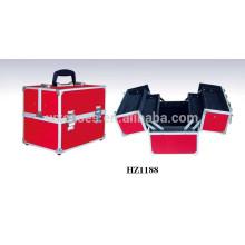 grossistes fabricant de caisse cosmétique rouge en aluminium avec plateaux à l'intérieur