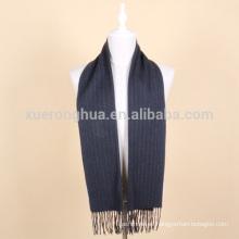 Bufanda de lana a rayas azul oscuro para hombre