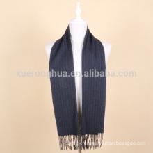 deep blue striped wool scarf for men