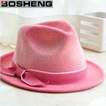 Sombrero del casquillo de las lanas del color de rosa del Bowknot al por mayor de la manera