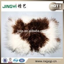 Vente chaude Curl Cheveux longs Tibet agneau fourrure oreiller couleur naturelle avec Spot