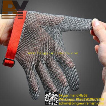 Luva de aço inoxidável soldada anel malha chainmail armadura