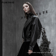 OPY-342 PUNK RAVE Punk Gothic Short Metal Chain Loose PU Jacket women leather coats college jacket