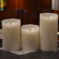 LED Wax Pillar Candles with Moving Wicks