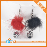 Mode 2015 speciale Grey Crystal Ball Pompon Earring