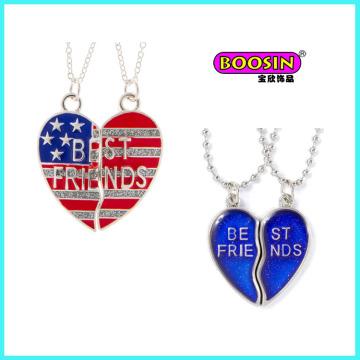 Custom Design Enamel Broken Heart Pendant Necklace for Friends Jewelry