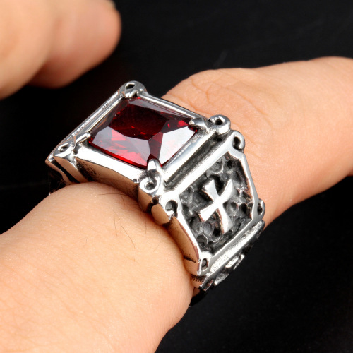 Stainless Steel Ruby Ring