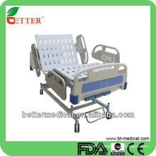 3-function manual Hospital bed with PP side rails hospital intensive care unit bed