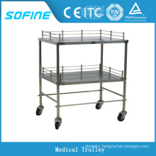 SF-DJ135 stainless steel medical cart hospital trolley