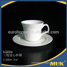 2016 hotel Fine porcelain double lines ceramic tea cup and saucer