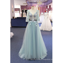 Hot Sale Blue Embroidery Beading A Line Evening Dress