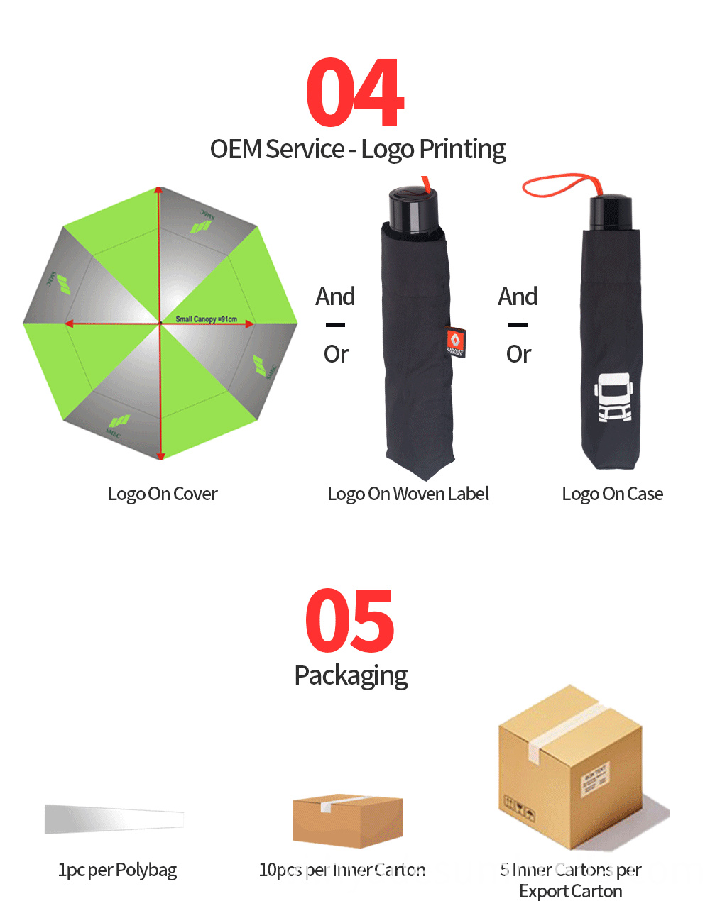 3 Folding Umbrella Logo Printing