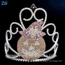 Цветные хрустальные аксессуары для Halloween Pumpkins Crown, Halloween Pageant Crown