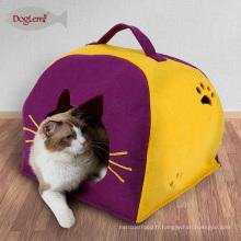 Lits à baldaquin pour chiens Nature feutre chat Lgloo Play House Winter Cave pour animaux de compagnie avec coussin amovible de Carry Cat House