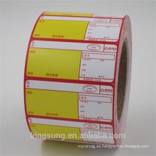 Papel adhesivo personalizado impresión de etiquetas adhesivas de transferencia térmica en rollo