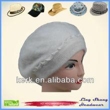 LSA28 Belle coiffe blanche et laine en hiver chapeau blanc