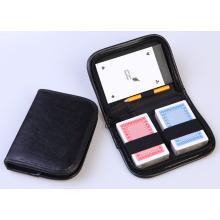 Pocker de cartão de jogo em caixa de couro