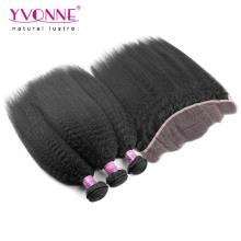 Pacotes de cabelo brasileiro com laço frontal