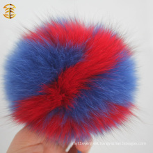 New Wholesale Alphabet Real Fox Fur Pom Poms Key Chain Fluffy Pompom Keychain