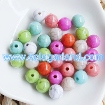8mm Mixed Color Acrylic Round Spacer Loose Beads Imitation Crackle Ball Beads For Bracelet Necklace