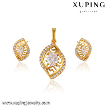 64084-xuping mode 24k dubai vergoldet schmuck diamant schmuck-set für frauen