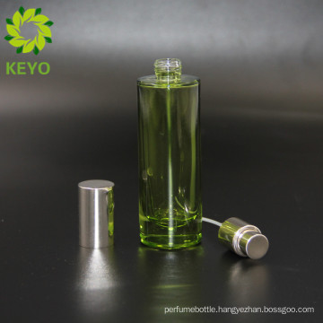 Green clear frosted screen printing 1oz spray pump perfume bottle cylinder glass bottle 30ml perfume fresh glass bottle