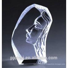 rosto de iceberg de cristal gravado dentro com para presente e lembrança CB-006