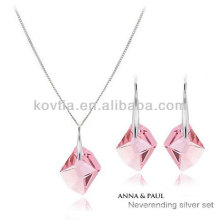2014 newest design girls pink crystal jewelry set