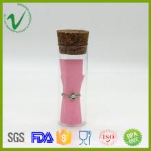 Пустой цилиндр мини-ПЭТ пластиковая упаковка бутылка с резиновой пробкой